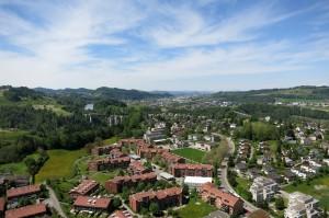 Luftaufnahme St. Gallen Haggen Richtung AFG Arena