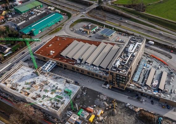 Luftaufnahme Baustelle Schützenwiese, Kriessern